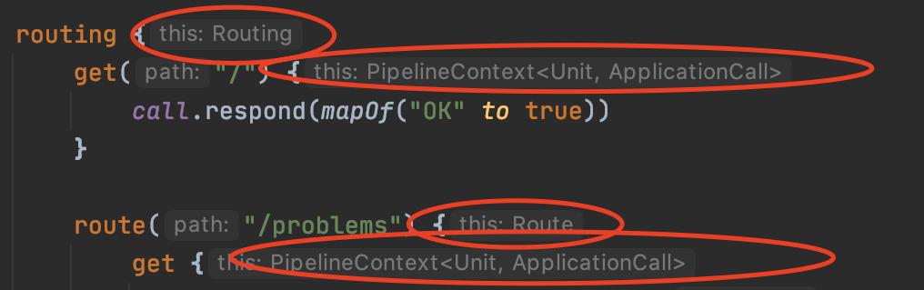 程式碼中的 Receiver Type 標註圖